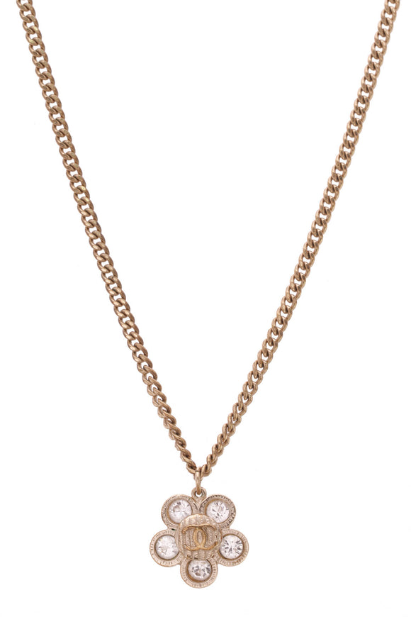 Chanel Crystal Flower Pendant Necklace Gold Crystal