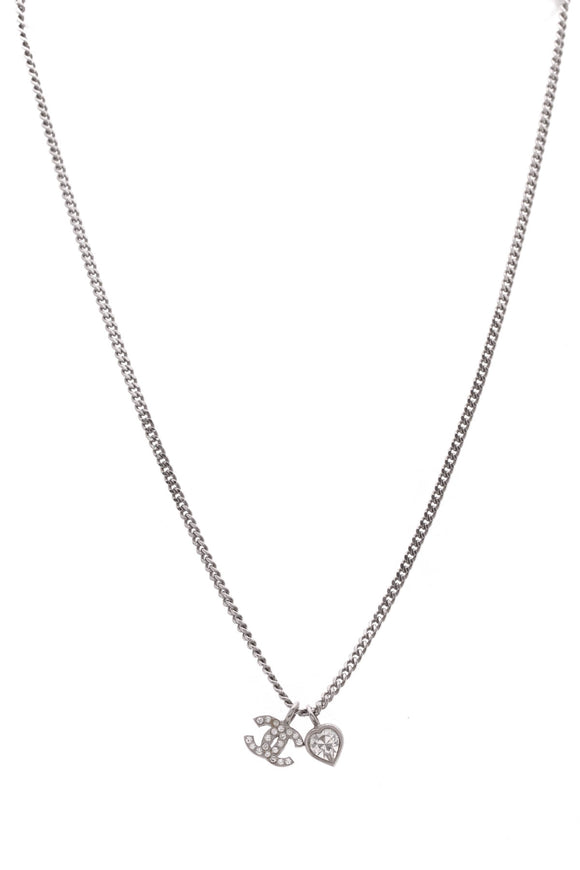 Chanel CC Heart Mini Pendant Necklace Silver