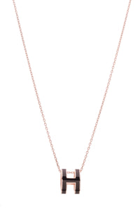 Hermes Pop H Necklace Black Rose Gold