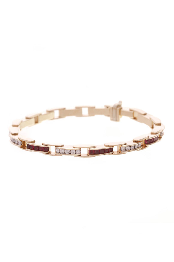 Ruby Diamond Tennis Bracelet Gold