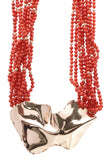 Coral Beaded Necklace Gold