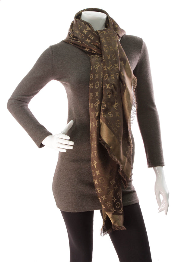 Louis Vuitton Shine Shawl Scarf Brown
