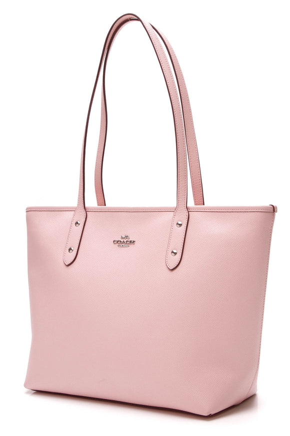 Coach City Zip Tote Bag Pink Leather