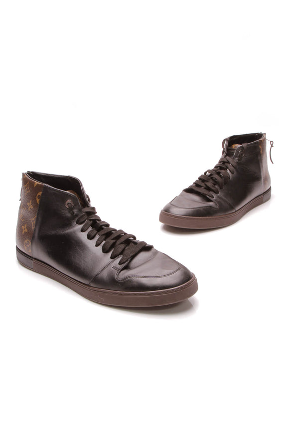 Louis Vuitton Line Up High-Top Men's Sneakers Black Monogram Brown US Size 12
