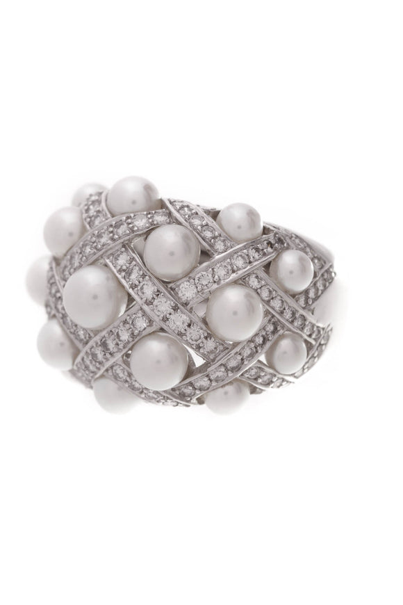 Chanel Baroque Matelasse Pearl Diamond Ring  18K White Gold
