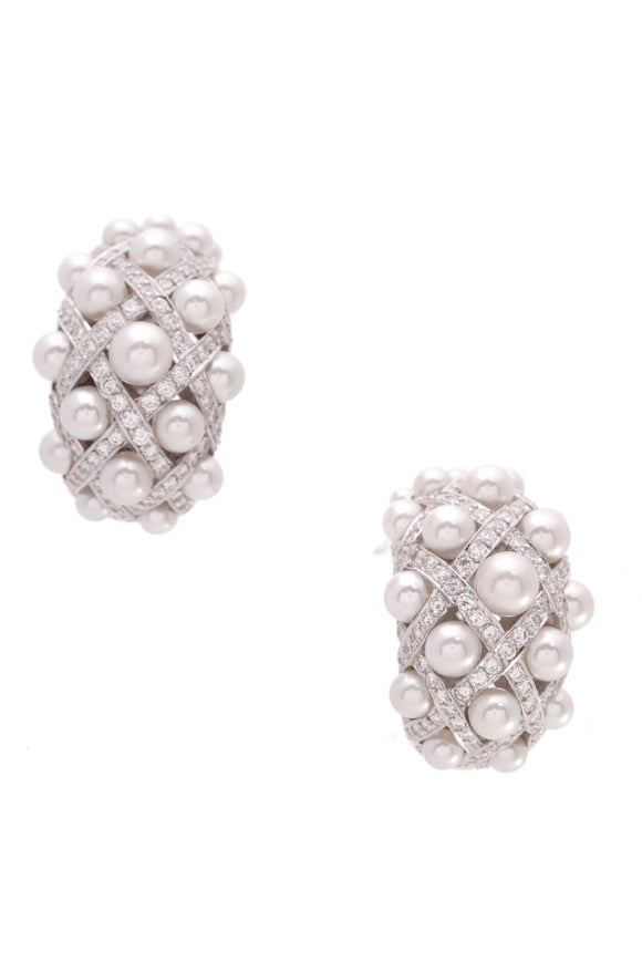 Chanel Large Matelasse Clip Earrings Pearl Diamond 18K White Gold