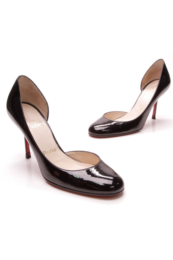 Christian Louboutin Helmour 100 Pumps Black Patent Leather Size 36.5