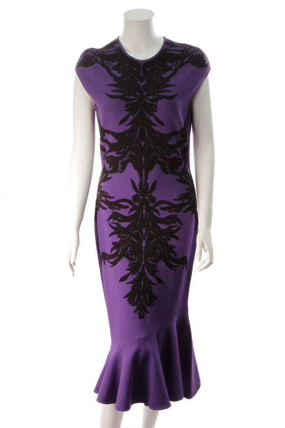 Alexander McQueen Spine Intarsia-Knit Flounce Dress Purple Size XXL
