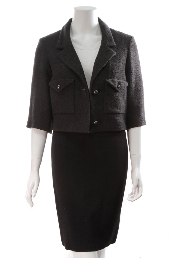 Chanel Tweed Jacket Black Size 36