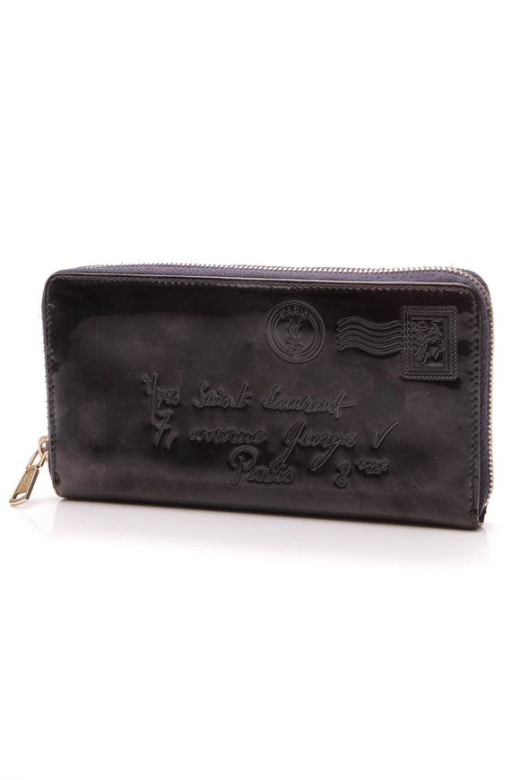 Yves Saint Laurent Y Mail Zipper Wallet Navy