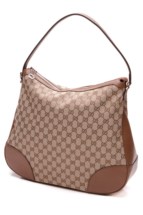 Gucci Bree Original Hobo Bag Brown Canvas