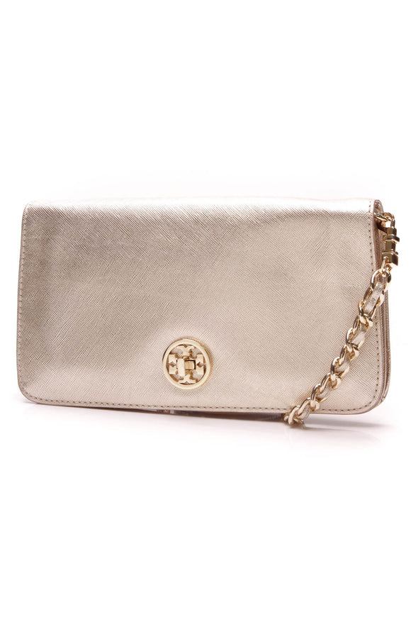 Tory Burch Adalyn Clutch Crossbody Bag Gold Leather