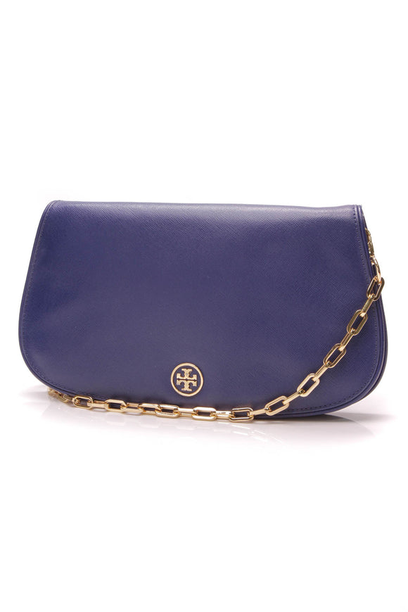 Tory Burch Loop Clutch Crossbody Bag Blue Leather