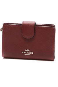 Coach Corner Zip Wallet Red Saffiano