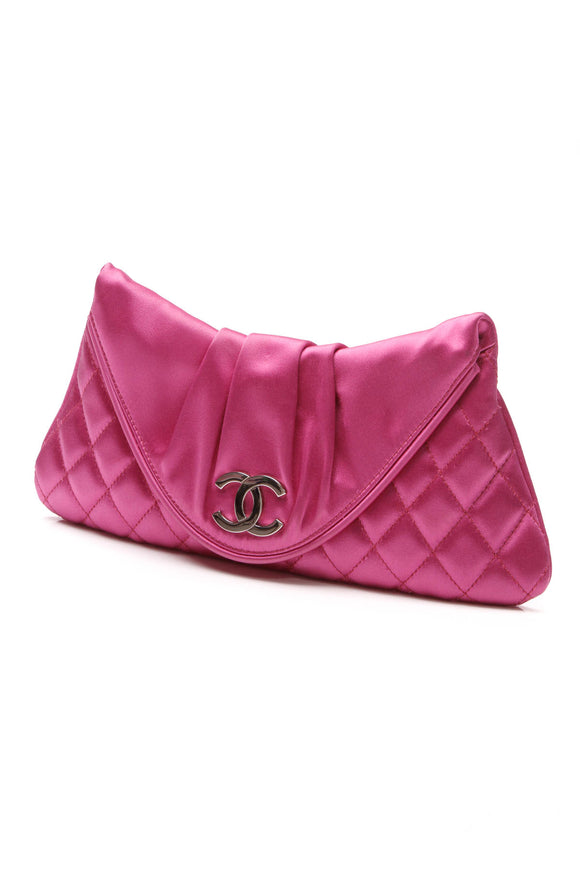 Chanel Half Moon Clutch Bag Pink Satin