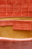 Nancy Gonzalez Crocodile Fold Over Clutch Bag Coral