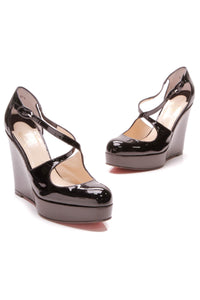 Christian Louboutin Crisscross Wedges Black Leather Size 37.5
