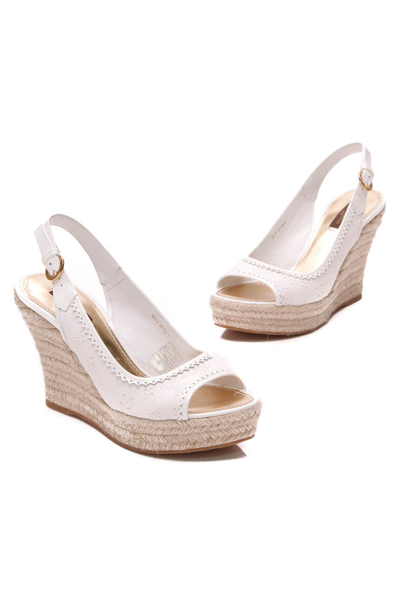 Louis Vuitton Monogram Broderie Wedges White Size 37