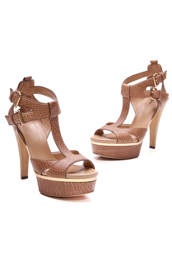Gucci Iman T-Strap Platform Sandals Brown Size 37