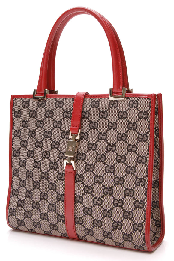 Gucci Jackie Line Tote Navy Red GG Canvas