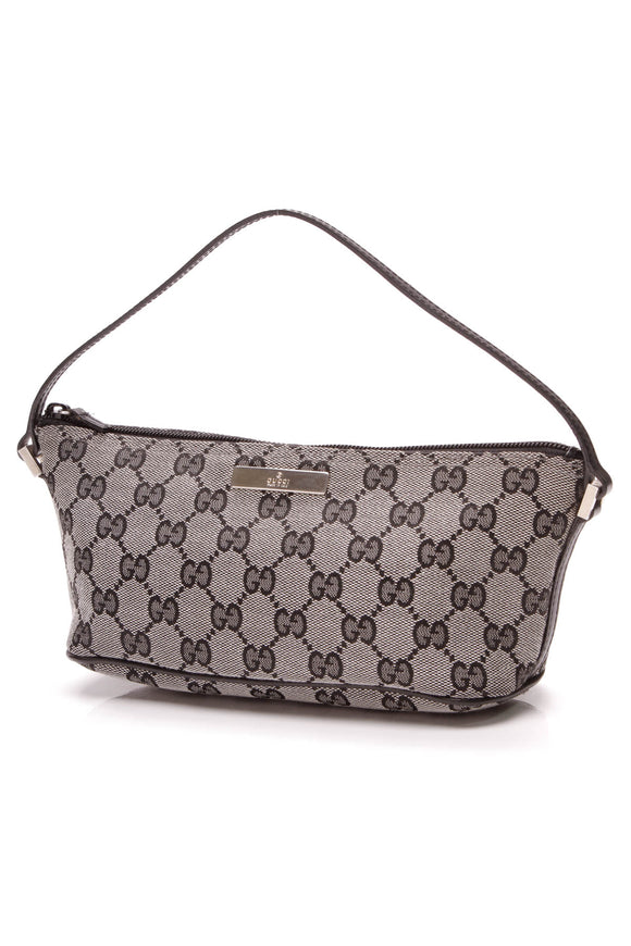 Gucci Boat Pochette Bag Black Gray Signature GG Canvas