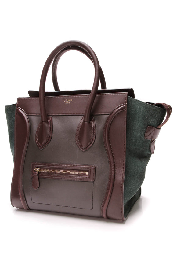 Celine Tricolor Luggage Bag Leather Suede