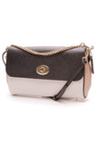 Coach Geometric Colorblock Crossbody Bag Black White Leather