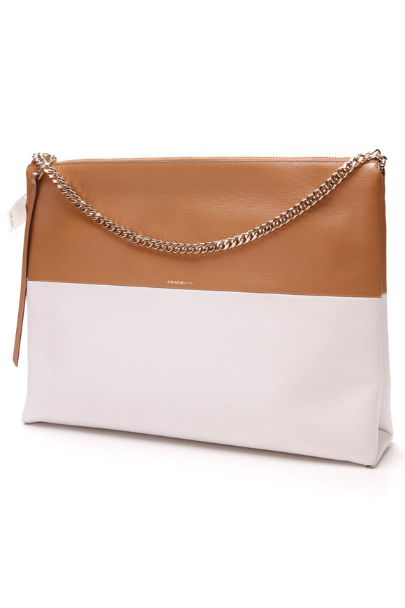 Coach Highrise Colorblock Shoulder Bag Tan White