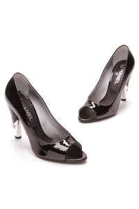 Chanel Open Toe Pumps Black Patent Leather Size 39