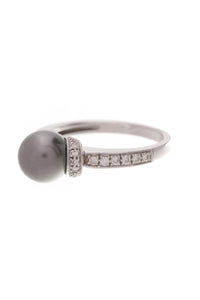14K White Gold Tahitian Pearl & Diamond Estate Ring