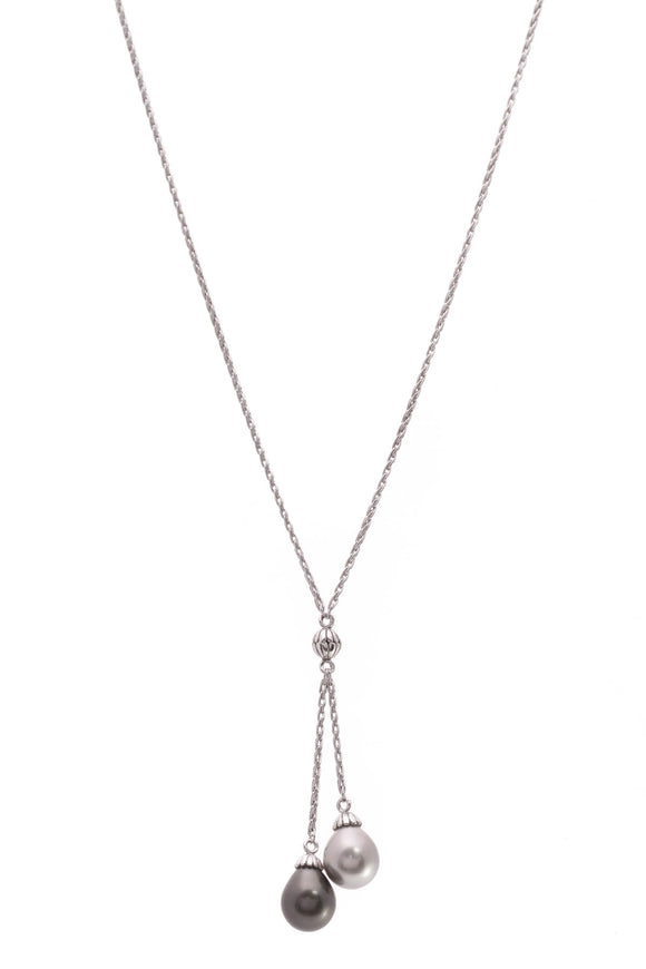 14K White Gold Tahitian Pearl Drop Style Necklace