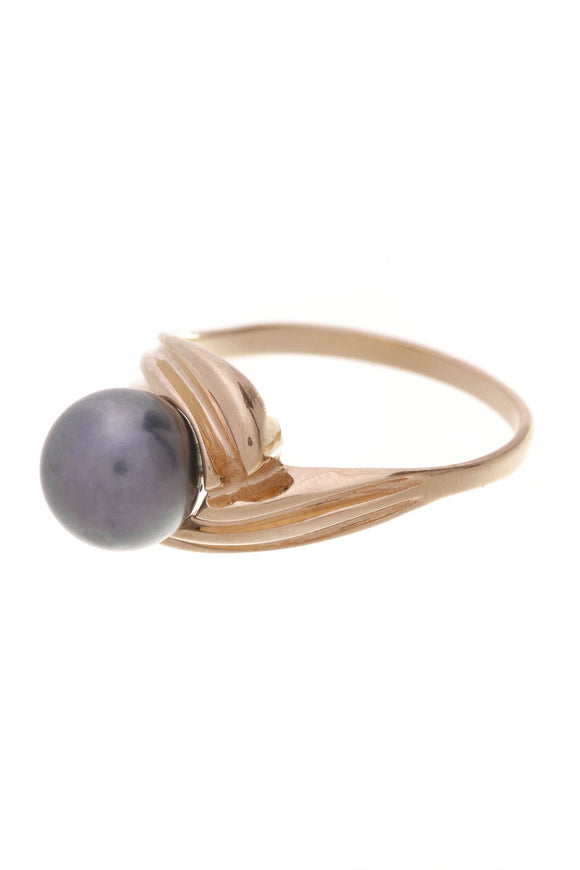 14K Yellow Gold Tahitian Pearl Bypass Ring
