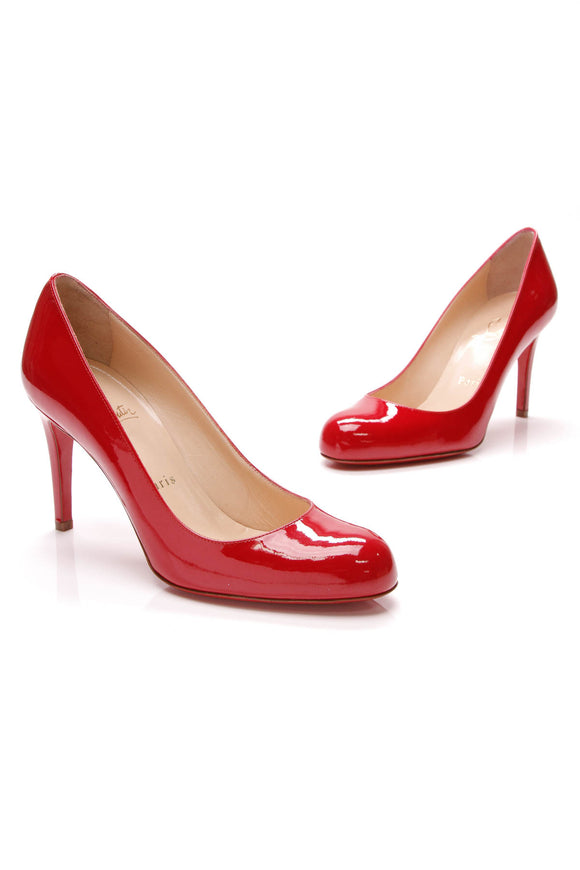 Christian Louboutin Simple Pumps Red Patent Leather Size 36
