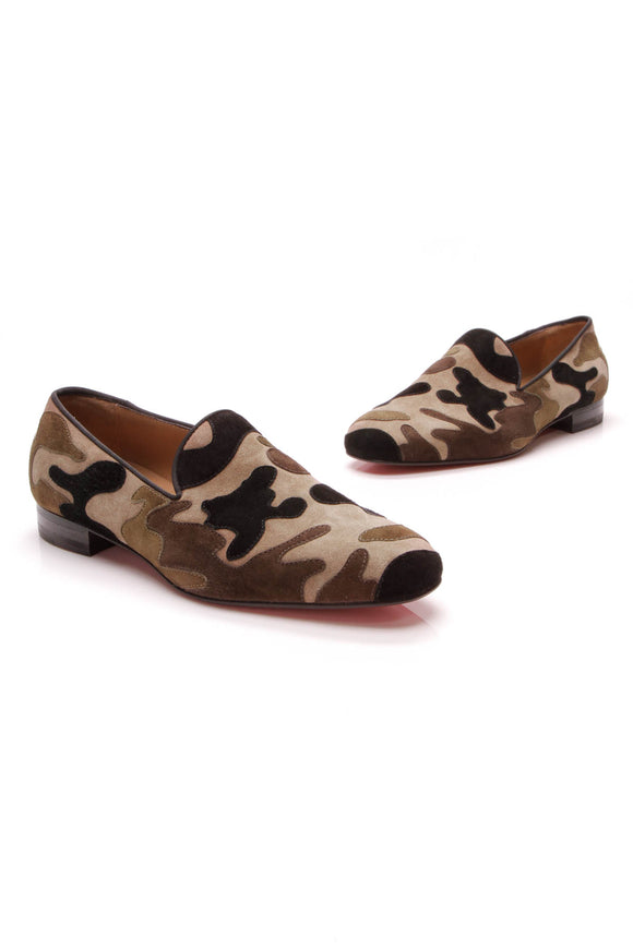 Christian Louboutin Camouflage Mercenaire Loafers Suede Size 40