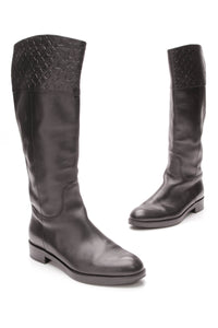 Louis Vuitton Knee High Boots Black Leather