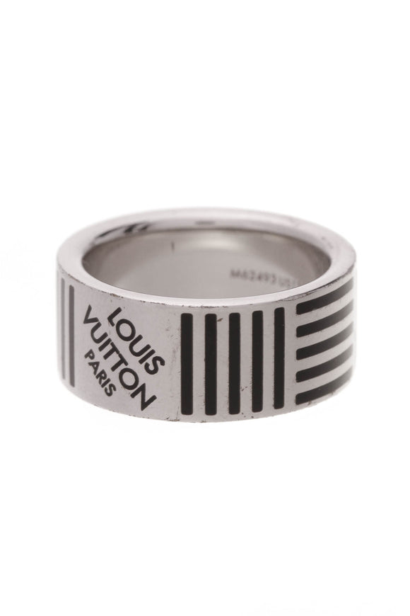 Louis Vuitton Damier Men's Band Ring Silver Black