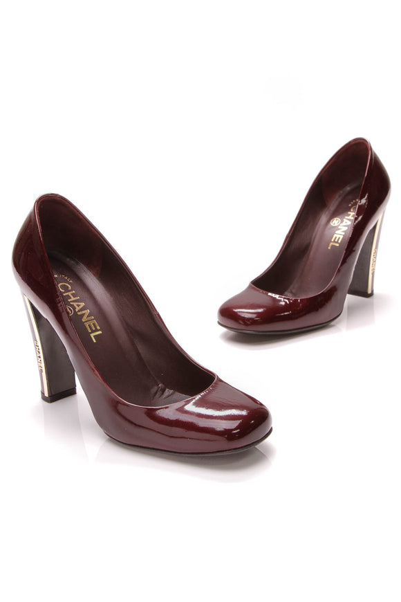 Chanel Square Toe Pumps Burgundy