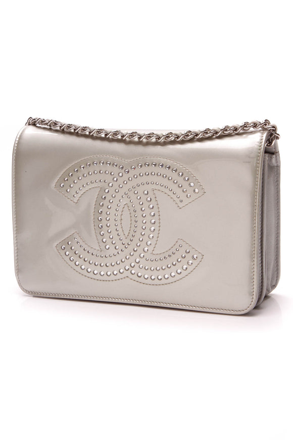 Chanel Crystal CC Strauss WOC Bag Silver