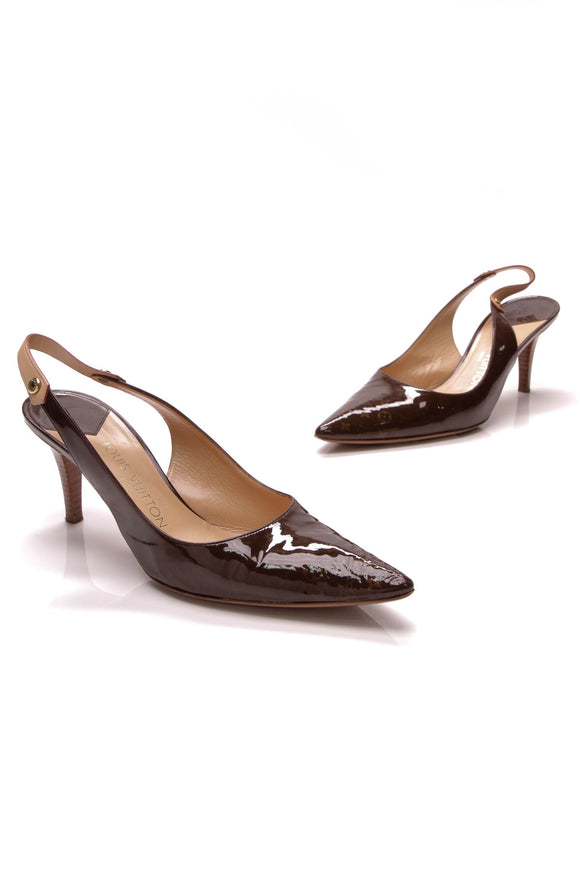 Louis Vuitton Slingback Kitten Heels Brown