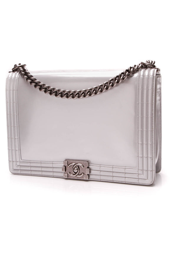 Chanel Large Boy Bag Silver