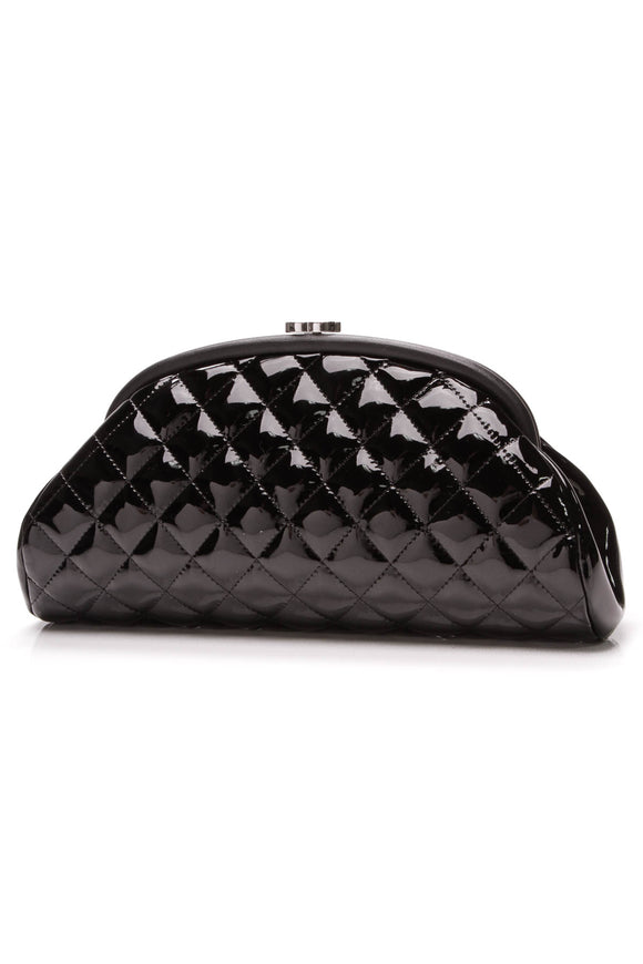 Chanel Quilted Timeless Clutch Bag Patent Leather Black