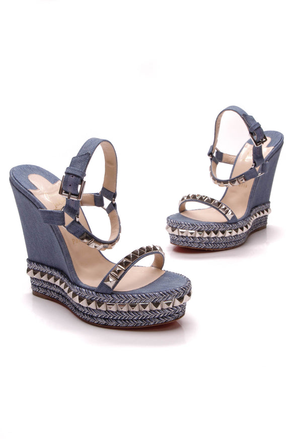 Christian Louboutin Cataclou Denim Wedge Sandals Blue Silver