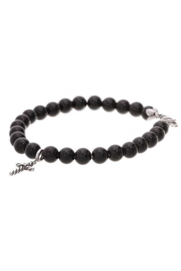 David Yurman Cross Onyx Spiritual Bead Bracelet Silver Black