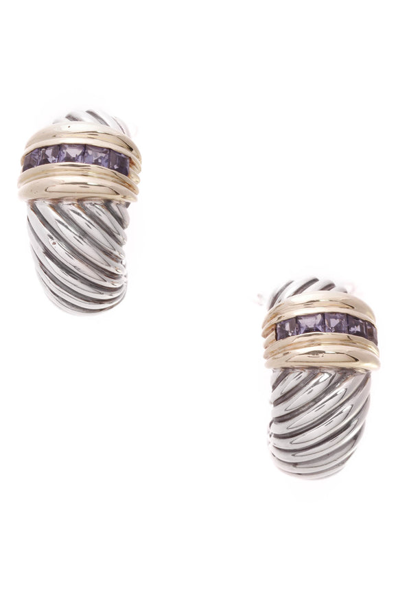 David Yurman Iolite Thoroughbred Omega Earrings Silver Gold