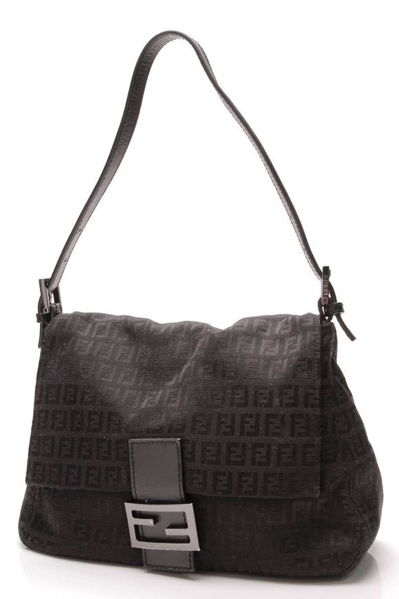 Fendi Baguette Bag Black Zucciano Canvas