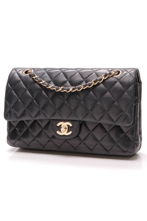 Chanel Classic Double Flap Bag Medium Navy Lambskin