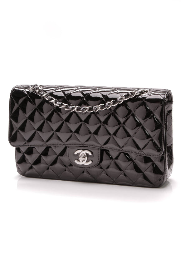 Chanel Classic Double Flap Bag Medium Black Patent
