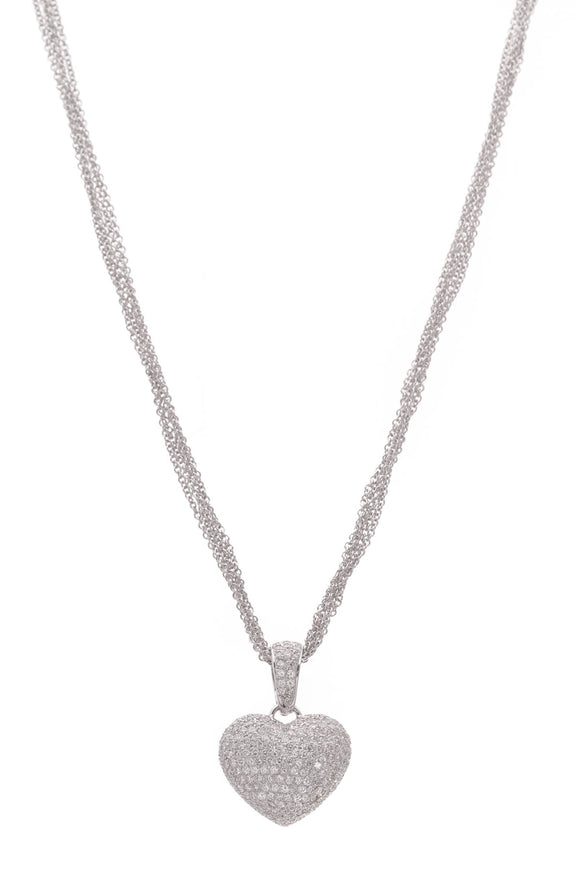 Pave Diamond Heart Pendant Necklace White Gold