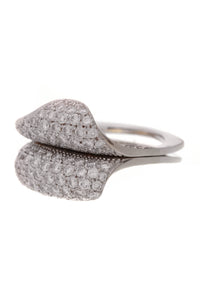 Pave Diamond Split Ring White Gold Size 7