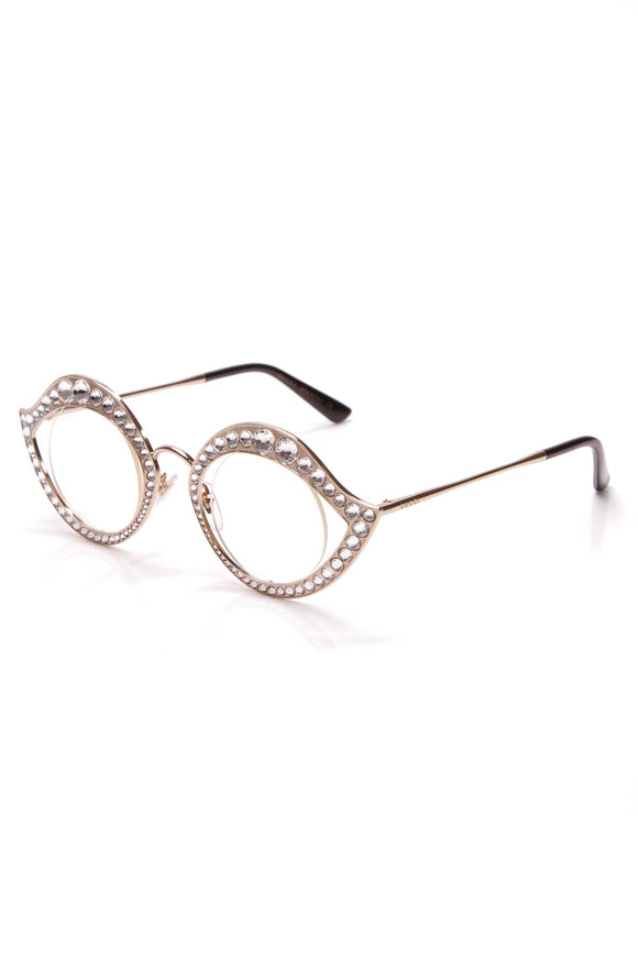 Gucci Crystal Cat Eye Glasses Gold